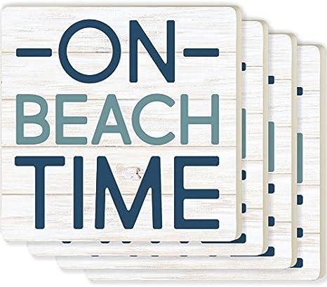 Graham Dunn COAP0190 Life Is Better At The Beach Seashells 4 Piece Absorbent Ceramic Coaster Set P