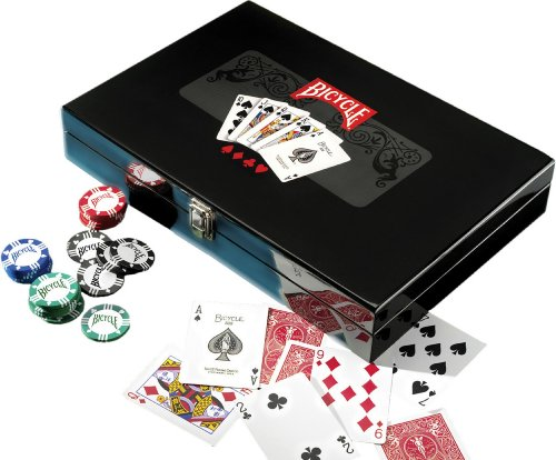 Bicycle Masters 300 8-Gram Clay Composite Poker Chip Set in a Black Lacquer Box by Bicycle