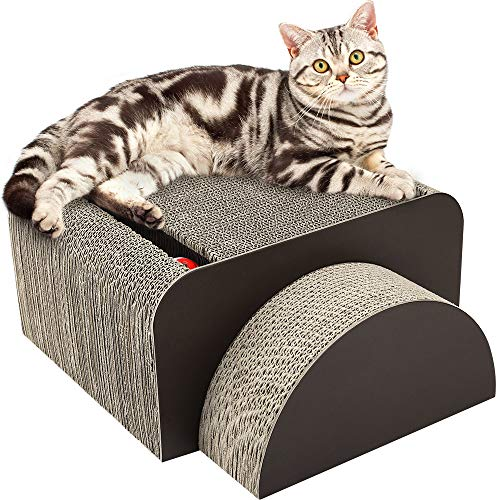 PAWABOO 2-in-1 Cat Scratcher Board, Multifunctional Rectangle Cat Scratching Corrugated Paper Scratch Pad Cardboard Cat Toy with Built-in Round Bell Ball & Organic Catnip for Cat Kitty Kitten, Brown