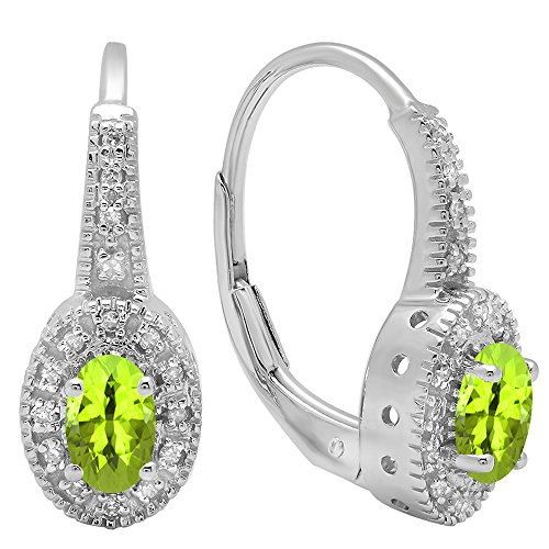 Dazzlingrock Collection 14K 6X4 MM Each Oval Peridot & Round Diamond Ladies Halo Style Hoop Earrings, White Gold