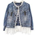 ESHOO Girls Kids Denim Jean Coat Jacket Outwear Tops Lace Bottom Cowboy Clothes