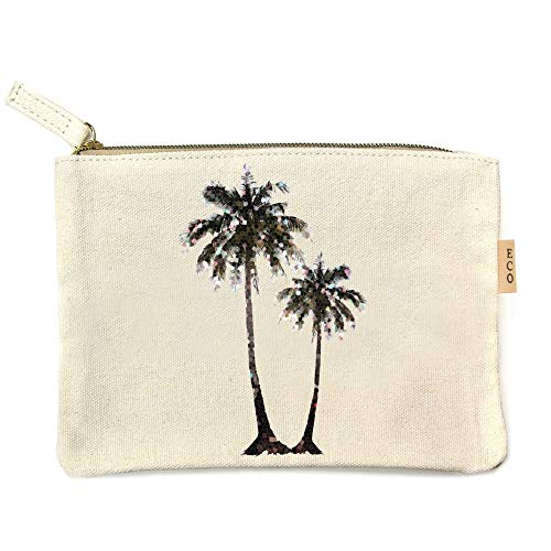 (Me Plus Eco Zipper Pouch Stylish Printed, Traveler Organizer, Cosmetic Small Makeup, Students BTS Organization Bag - 22 Pattern options (Palm Tree))