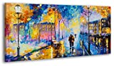 100% HANDPAINTED YS-Art Acrylic Painting + Certificate   Made in Europe   51 x 28 inch (130x70 cm)   Artwork on Canvas with Wooden Frame   Handmade Picture Ready to Hang in your Living Room or Bedroom