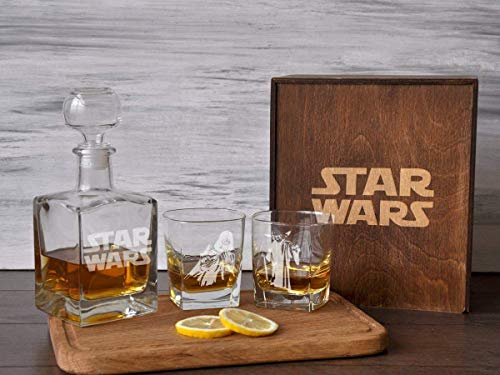 Personalized Star Wars Whiskey Decanter Star Wars Wedding Gift Star Wars Gift for Boss Engraved Whiskey Glass Star Wars Retirement Gift Box Etched Whiskey Glasses Gift for Him ()