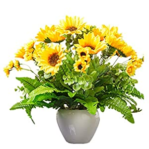 Mynse Silk Sunflower Suit for Home Office Living Room Table Decoration Artificial Sunflowers Mixed Flower Arrangement Champagne 74