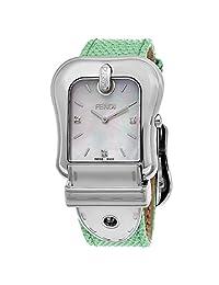 Fendi Women's 'B.' Swiss Quartz Stainless Steel and Leather Dress Watch, Color:Green (Model: F382014581D1)
