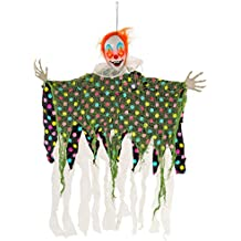 Halloween Haunters Animated Hanging Scary Circus Clown Prop Decoration - Spooky Blue, Green, Red Flashing LED Eyes & Collar - Battery Operated