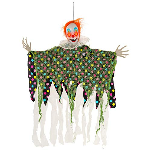 Halloween Haunters Animated Hanging Scary Circus Clown Prop Decoration - Spooky Blue, Green, Red Flashing LED Eyes & Collar - Battery Operated -