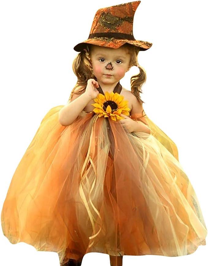 ASHOP Vestidos niña/Vestido de Bruja de Disfraz de Halloween ...