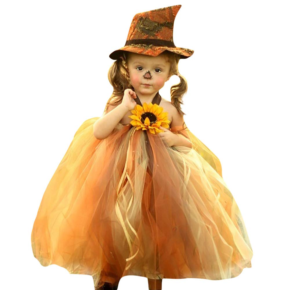 Halloween Baby Girls Dress Backless Sling Tutu Tulle Princess Witch Cosplay Costume (9-12 Months, Yellow)