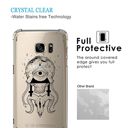 Coins Samsung Cute De 8 Compatible Motif rayures Galaxy absorption Tpu D'air Edge Anti Pour S7 Transparent Choc Avec Coque Shock Housse Silicone 4 Coussin Zater Yfy76Igvb