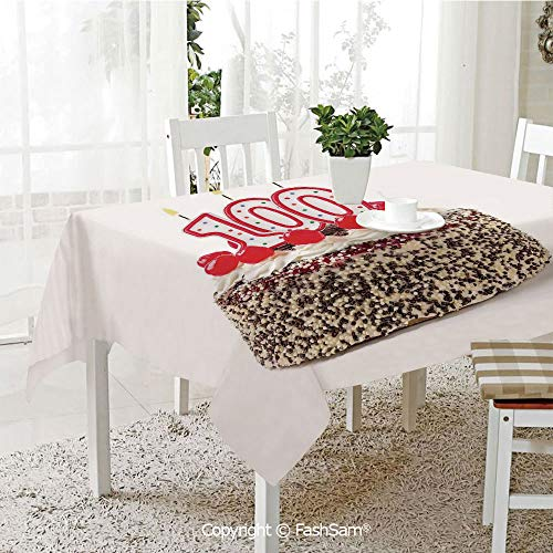 FashSam 3D Print Table Cloths Cover Photo of Pastry Party Cake with Candles and Sprinkles Image Waterproof Stain Resistant Table Toppers(W55 xL72) ()