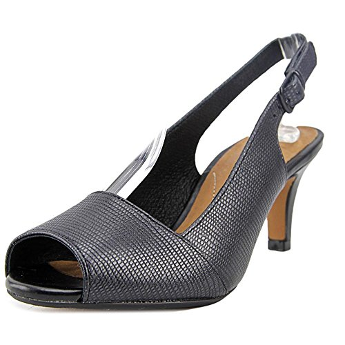Clarks Artisan Heavenly Leah Women US 8 Black Peep Toe Slingback Heel (Clarks Dress Sandals)