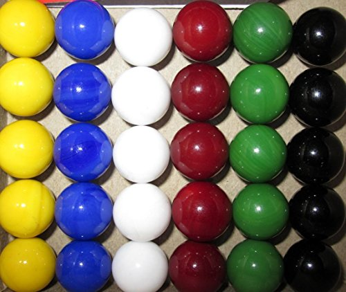Big Game Toys 30 Solid Color Replacement Marbles Wahoo Aggravation Board Game 14mm Glass 9/16