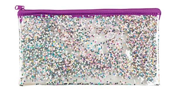 Estuche holográfico de papel de aluminio con purpurina Quicksand transparente con cremallera para lápices y bolígrafos, organizador de papelería, color Purple Star Glitter Pouch: Amazon.es: Oficina y papelería