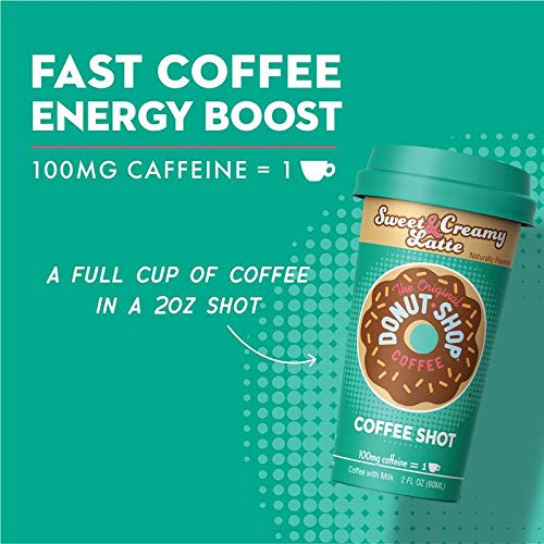 Donut Shop Coffee Shots - 100mg Caffeine, Sweet & Creamy Latte, Tasty coffee energy boost in a ready-to-drink 2-ounce shot, Sample by FORTO (Image #1)