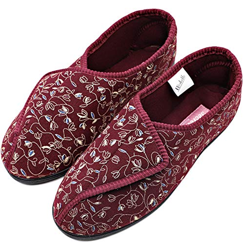 (Orthoshoes Womens Diabetic Slippers Swollen Feet Embroidery House Shoes Adjustable Touch Close Strap Memory Foam Wide Width for Elderly, Seniors, Edema (7, Comfy - Red))