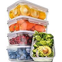[Paquete de 5, 30 oz] Recipientes de preparación de comidas de vidrio - Recipientes de preparación de alimentos con tapas Preparación de comidas - Recipientes de almacenamiento de alimentos herméticos - Recipientes de control de porciones Envases de