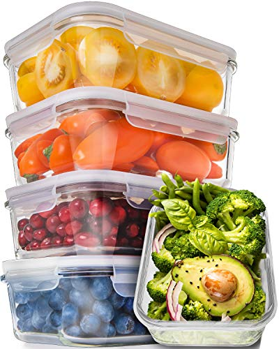 [5-Pack,30oz] Glass Meal Prep Containers - Food Prep Containers with Lids Meal Prep - Glass Food Storage Containers Airtight - Lunch Containers Portion Control Containers - BPA Free Container from Prep Naturals