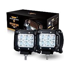 "Auxbeam 2Pcs 4"" LED Light Bar 18W LED Pod CREE Driving Lamp Spot Beam 30 Degree Waterproof for Off-road ATV SUV Jeep Boat 4WD ATV Pickup Off-road Ford"
