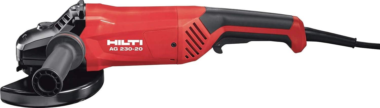 HILTI 2116134 Amoladora angular con interruptor de emergencia de tipo dead man para tareas de corte y amolado de metal con discos, 2000 W, Negro/Rojo