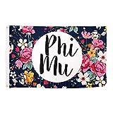 Phi Mu Floral Pattern Sorority Flag Greek Banner 3 x 5 Feet Sign Decor