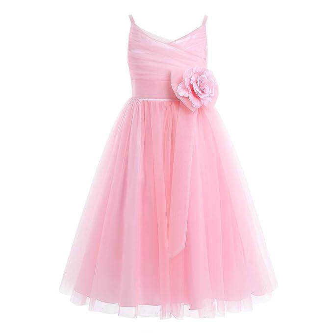 FEESHOW Niña Vestido gasa con flores Vestido Princesa de la dama de honor Bowknot Elegante para