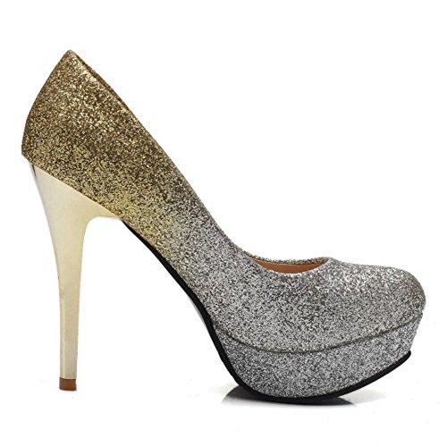 Sexy Plateforme Talons Gold Aiguille TAOFFEN Escarpins Club Soirée Femmes SwYq4F7f
