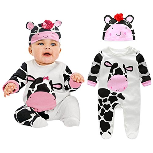 Little Baby Clothes, Womail Long Sleeve Romper + Hat Bodysuit Outfits for Infant Boy Girl (9 Months, (Cow Costume Infant)
