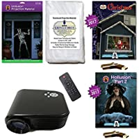 AtmosFearFx Christmas and Halloween Digital Decoration Kit includes 800 x 480 Projector, Hollusion (lg) + Kringle Bros Rear Projection Screens, Christmas + Hollusions 2 Compilation Videos on USB