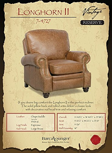 Farmhouse Accent Chairs Barcalounger Longhorn II Leather Recliner Chaps Saddle Top Grain Leather Chair with Espresso Wood Legs – Standard Ground… farmhouse accent chairs
