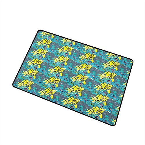 Yellow and Blue Welcome Doormat Abstract Flowers with Hand Drawn Daisies and Leaves Exotic Bedding Plants All Season Universal 20