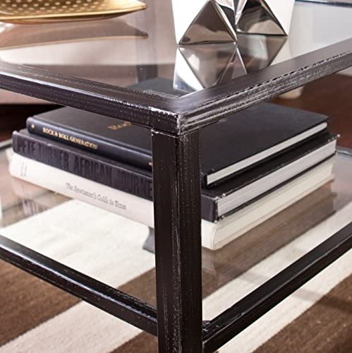 Wildon Home Small Contemporary Metal and Glass Top Coffee Table – It Has Beautiful Black Finish and Unique Design. This Small Coffee Table Is the Perfect Addition to Every Corner in You Living Room, Dining Room, Bedroom or Office. The Square Coffee Table Can Also Be Used Outdoor. It Has One Shelf Where You Can Put Magazines, Book and Many More. 1 Year Limited Warranty