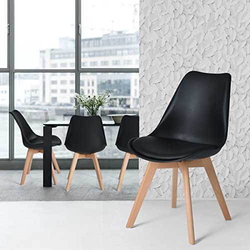 FurnitureR Set of 4 Dining Chair Tulip Natural Solid Wood Legs Design with Cushioned Pad Armless Lounge Chairs Kitchen Black (Kitchen Designs Lounge)