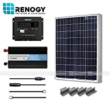 RENOGY® Solar Panel Complete Kit 100W Poly: One 100Watts Polycrystalline Solar Panel+One 30A PWM Charge Controller+One Off Grid Battery Inverter 1000W+One Pair of 20Ft MC4 Solar Adaptor Kit+One Pair 8Ft 10AWG Tray Cable+One Set of Z Brackets