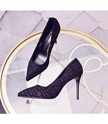 Feminine Shallow Mouth Pointed-Toe High Heels Elegant Sexy Stone Pattern Suede Shoes Black 9cm Wedding Shoes (Color : Black, Size : 37)