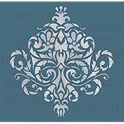 "Innovative Stencils Large Wall Damask Stencil Faux Mural Design #1010 (10"" x 10 5/8"")"