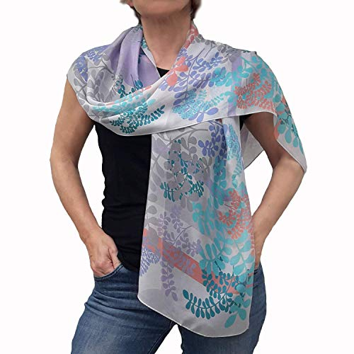 Women Birthday Gift, Artistic Chiffon Scarf, Long Silk Scarves, Oblong Scarfs for Hair, Lightweight Designer Shawl for Women in Live Coral and Turquoise