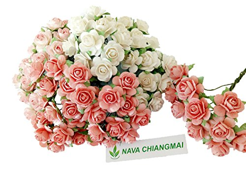 NAVA CHIANGMAI 100 Pcs Coral White Rose Mulberry Paper Flower 15-20 mm Scrapbooking Wedding Doll House Supplies Card Project