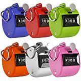 AFUNTA Mini Colorful Handheld Tally Counter 4 Digit Display for Lap / Sport / Coach / School / Event - 1pcs Sport Counters (Silver ) with Metal Material and 5pcs(Pink / Orange / Blue / Green / Red) with ABS Plastic Casing Material