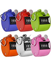 AFUNTA Pack of 6 Color Hand Held Tally Counter 4 Digit Mechanical Palm Clicker Counter - Assorted Color Handheld Tally Counter for Lap/Sport/Coach/School/Event