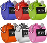 AFUNTA Pack of 6 Color Hand Held Tally Counter 4 Digit Mechanical Palm Clicker Counter - Assorted Color Handhe