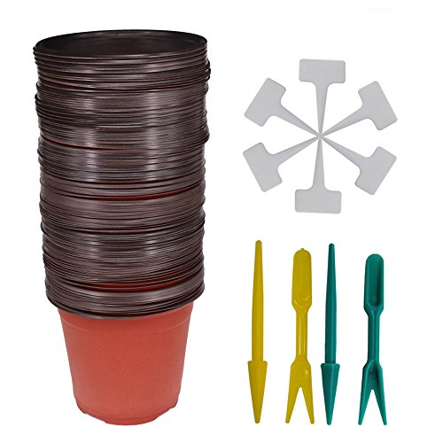 Huvai 80 Pcs 6'' Plastic Seedlings Plants Nursery Pots with 80 Pcs Waterproof Plastic T-Type Plant Tags and 2Pcs/Set Transplanting Digging Mini Tools by Huvai
