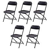 Best unknown Stacking Chairs - Bonnlo 5-Pack Plastic Folding Chairs Stackable Wedding Party Review