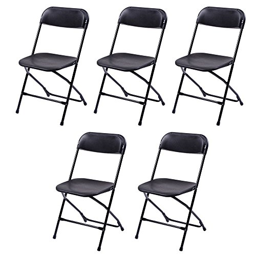 5 pcs Commercial Black Plastic Folding Chairs Stackable Wedding Party Event Chair