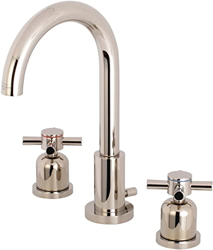 Kingston Brass FSC8929DX Concord 8-Inch Widespread Lavatory Faucet with Brass Pop-Up, 5-3 8 Inch in Spout Reach, Polished Nickel