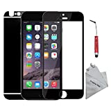 Dreams Mall(TM)Top Fashion Electroplating Mirror Effect Tempered Glass Screen Protector Film Decal Skin Sticker for Apple iPhone 6 Plus 5.5 inch-Black