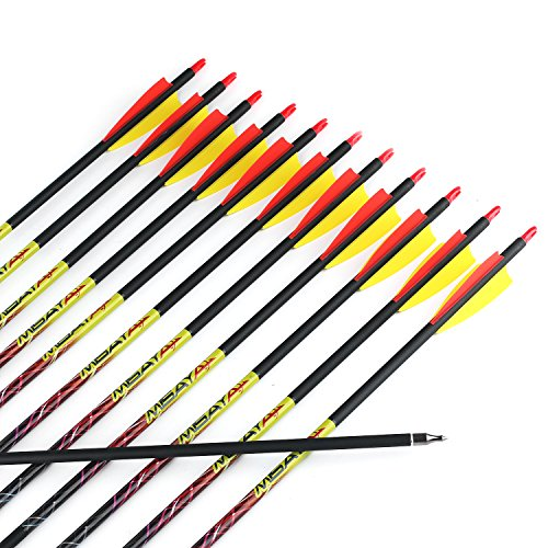 Bow Products : 12Pcs/lot Misayar 30 Inch Carbon Arrows Fletched 3 Inch Vane with Field Points for Recurve Compound Bow Targeting or Hunting
