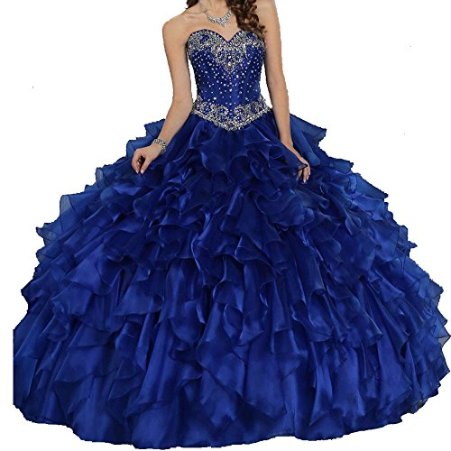 Meilishuo Women's Sweetheart Beading Quinceanera Dresses Long With Jacket 2017 Prom Party Ball Gown with Big (Big Poofy Dresses)