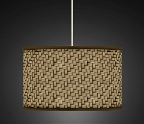 30 cm de mimbre marrón/Retro de madera hecho a mano lámpara ...
